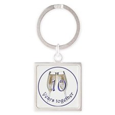 Celebrate 10 Years Together! Square Keychain