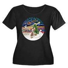 XMagic-S Women's Plus Size Dark Scoop Neck T-Shirt