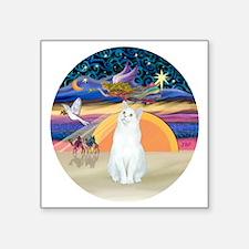 "Xmas Angel-White Cat - ASH Square Sticker 3"" x 3"""