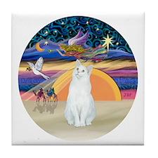 Xmas Angel-White Cat - ASH Tile Coaster