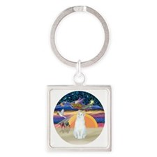 Xmas Angel-White Cat - ASH Square Keychain
