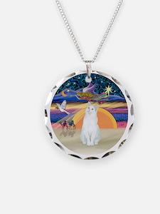 Xmas Angel-White Cat - ASH Necklace