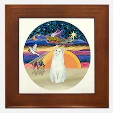 Xmas Angel-White Cat - ASH Framed Tile