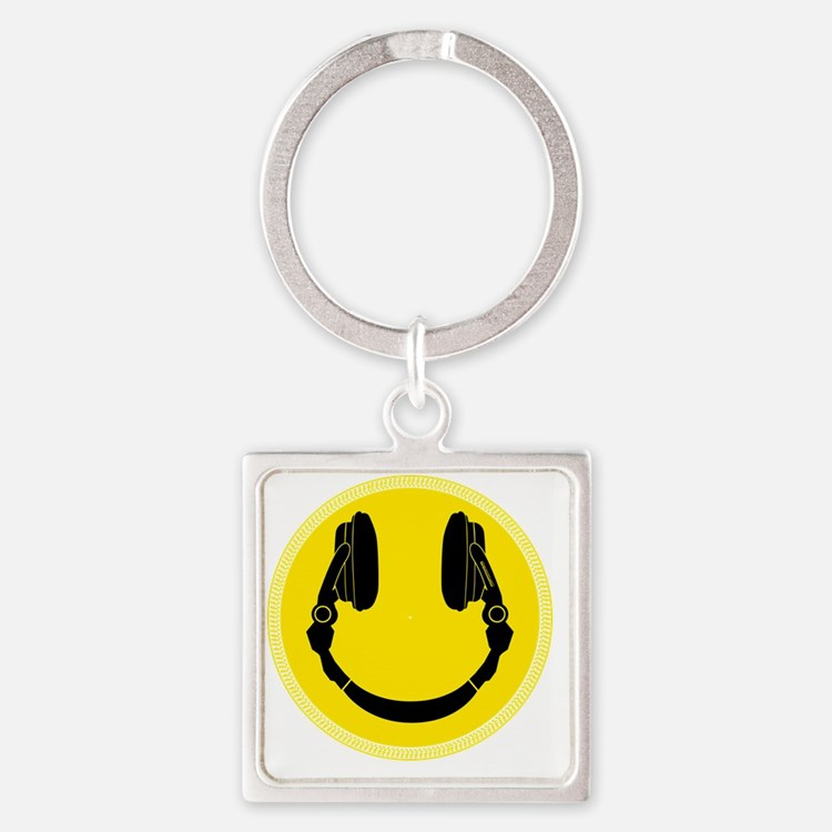 DJ Smiley Headphone Platter Square Keychain
