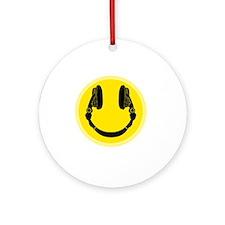DJ Smiley Headphone Platter Round Ornament