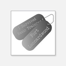 "I survived Basic Training F Square Sticker 3"" x 3"""
