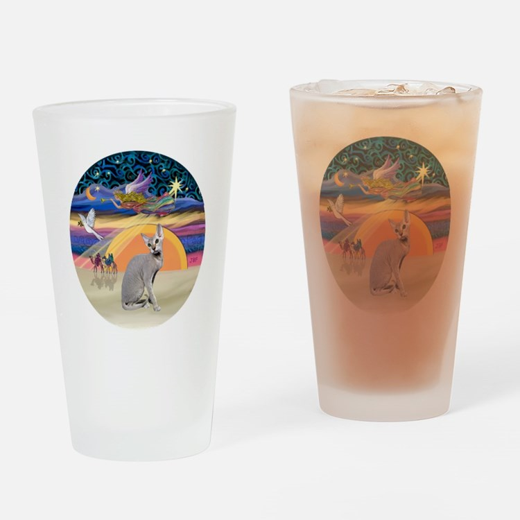 C-Angel-Peterbald cat Drinking Glass