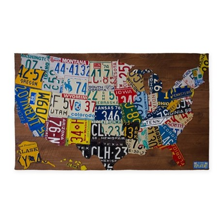 USPlateArt Large License Plate Map X Area Rug By ADMINCP - Us liscense plate map