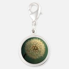 Teal Dandelion Silver Round Charm