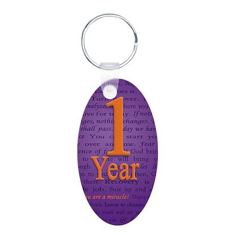 1 Year Recovery Birthday - Aluminum Oval Keychain
