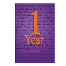 1 Year Recovery Birthday  Postcards (Package of 8)