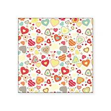 "Colorful hearts pattern Square Sticker 3"" x 3"""