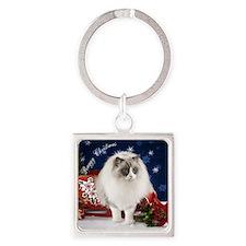 Ragdoll Cat Ornament Square Keychain