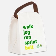 Walk. Jog. Run. Sprint. Bolt. Canvas Lunch Bag