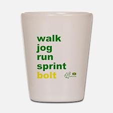 Walk. Jog. Run. Sprint. Bolt. Shot Glass