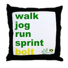 Walk. Jog. Run. Sprint. Bolt. Throw Pillow