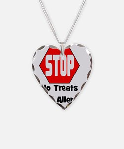 STOP No Treats, Food Allergy  Necklace Heart Charm