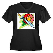 Sword_0020.g Women's Plus Size Dark V-Neck T-Shirt