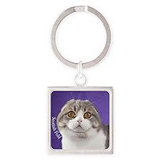 Scottish Fold Ornament Square Keychain