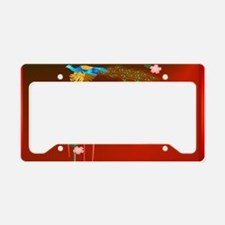 Black Cap Flying Peacock and  License Plate Holder