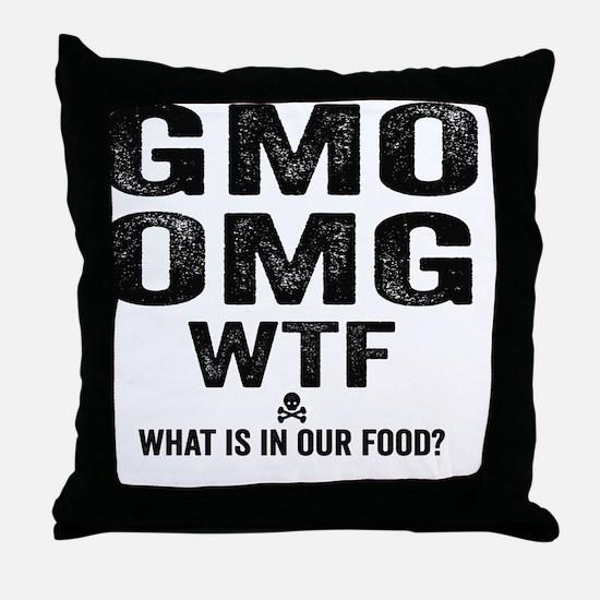 GMO OMG Throw Pillow