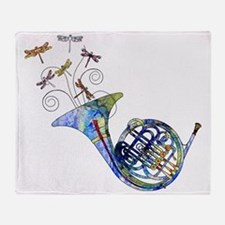 Wild French Horn Throw Blanket