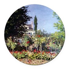 Claude Monet Flowering Garden at  Round Car Magnet