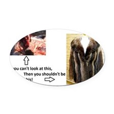 Fur Shame Oval Car Magnet