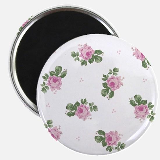 Pink Roses Floral Pattern Magnet