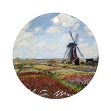 Claude Monet Field Of Tulips Round Ornament