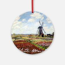Claude Monet Field Of Tulips Round Ornament