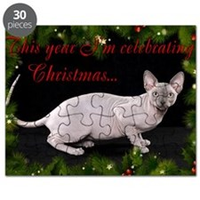 Sphynx Cat Christmas Card Puzzle