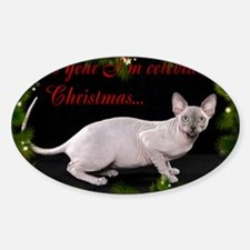 Sphynx Cat Christmas Card Decal