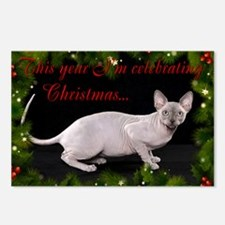 Sphynx Cat Christmas Card Postcards (Package of 8)