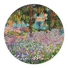 Irises In Monets Garden Round Car Magnet