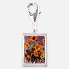Claude Monet Sunflowers Silver Portrait Charm