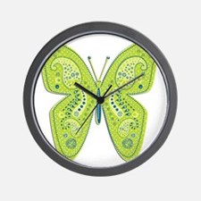 Lime and Blue Paisley Butterfly Wall Clock