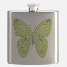 Lime and Blue Paisley Butterfly Flask