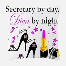 secretary 2 Woven Throw Pillow