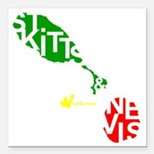 "St. Kitts  Nevis Square Car Magnet 3"" x 3"""