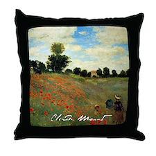 Monet Wild Poppies near Argenteuil Throw Pillow