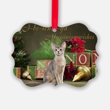 Abyssinian Cat Christmas Card Ornament