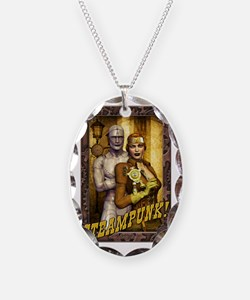 Steampunk - Girl and Robots Necklace