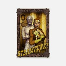 Steampunk - Girl and Robots Rectangle Magnet