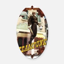 Steampunk - Flying Man Oval Car Magnet