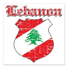 "Lebanon Coat of Arms Square Car Magnet 3"" x 3"""