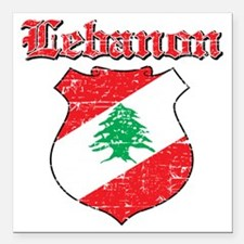 "Lebanon Coat of Arms Square Car Magnet 3"" x 3"""