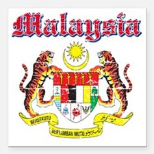"""Malaysia Coat of Arms Square Car Magnet 3"""" x 3"""""""