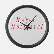 Happy Holidays Large Wall Clock