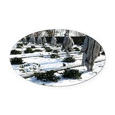 Korean war memorial veterans statu Oval Car Magnet